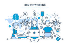 Avlägset arbete, freelanceren, informationsteknik, arbetsplats, bearbetar freelanceren, funktionsdugligt utrymme stock illustrationer