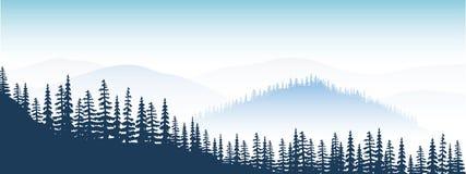Avlägset berglandskap skymning dal, kullar, skog, mist, dimma, granträd royaltyfri illustrationer