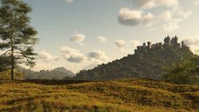 avlägset medeltida för slott Royaltyfri Bild