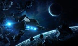 Avlägset planetsystem i utrymme med tolkningelem för exoplanets 3D royaltyfri illustrationer