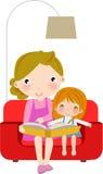 avläsning för bokdottermoder stock illustrationer