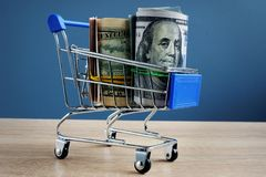 Avlöningsdagkassalån Shoppingvagn och pengar royaltyfri foto