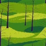 Avlövade träd på ett grönt fält Vektor Illustrationer