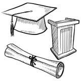 avläggande av examenobjekt skissar Arkivbild