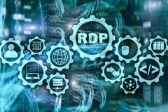 Avl?gset skrivbords- protokoll f?r RDP Slutlig service serverbakgrund stock illustrationer