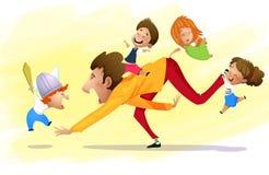 Avla att ha gyckel med barn royaltyfri illustrationer