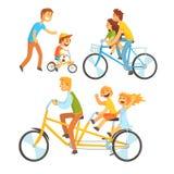Avla att rida hans barn på en cykel, ställ in för etikettdesign Avla att undervisa hans son att rida en cykel Färgrik tecknad fil vektor illustrationer