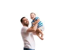 avla lyckligt hans son Arkivfoto