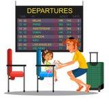 Avla med hållande ögonen på schema för dotter av avvikelseflygplan på bildskärm i väntande rum för flygplatsen, man med flickasam Royaltyfri Bild