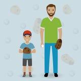 Avla och hans lilla son som går att spela baseball Farsan och ungen kastar bollen lycklig begreppsfamilj Arkivfoto