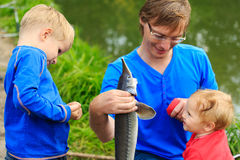Avla och ungar som rymmer fisken som de fångade på Royaltyfri Foto