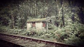 Avlagd järnvägkoja Oakhampton Devon arkivbilder