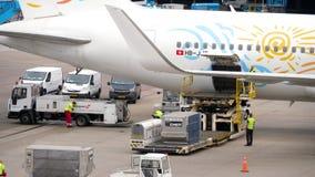 Avlastning av bagagebehållare från flygplanet lager videofilmer