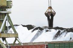 Avlastning av kol från järnväg vagnar Arkivfoton