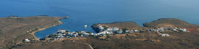 Avlemonas panorama, Kythera, Greece. Almost a secret of the island of Kythera, the small village of Avlemonas is a beautiful place for a family to spend the royalty free stock images