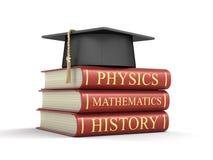 Avläggande av examenlock och bunt av läroböcker Royaltyfri Fotografi