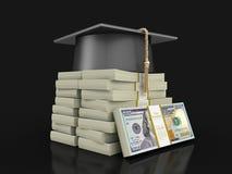 Avläggande av examenlock och hög av dollar Royaltyfria Bilder