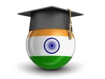 Avläggande av examenlock och indisk flagga Fotografering för Bildbyråer