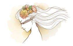 Avmaskar den blom- vattenfärgen för flickan Arkivfoto