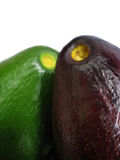 Avo Dos. A pair of Hawaiian Avocados: one green, one ripe with dark skin Royalty Free Stock Images