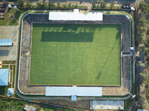 Avobe view on soccer field Royalty Free Stock Photos
