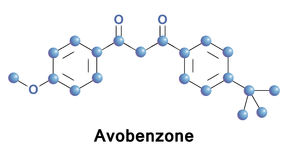 Avobenzone Butyl Methoxydibenzoylmethane. Avobenzone, Butyl Methoxydibenzoylmethane, is an oil soluble ingredient used in sunscreen products to absorb the full Stock Images