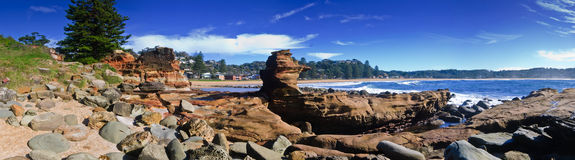 Avoca Beach. Interesting rock formation at the northern end of Avoca Beach, New South Wales, Australia Stock Photography