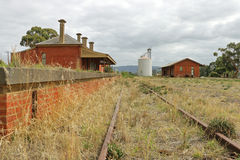 The Avoca railway station (1876) was closed in 2005 but retains a red brick station building, platform and goods shed. AVOCA, VICTORIA, AUSTRALIA - March 19 stock photos