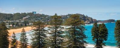 Avoca strandpanorama från över Arkivfoto
