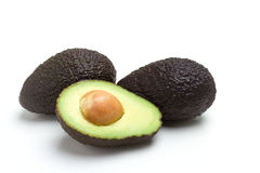 Avocado. Thre white isolated background Royalty Free Stock Photography