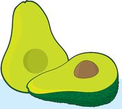 Avocado. A single avocado cut in half with a pit in one of the halves Stock Images