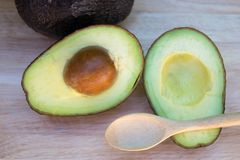 Avocado and avocado pieces on a wooden floor and has a background of green tree, Selected focus Stock Photos