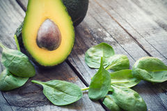 Avocado and baby spinach Royalty Free Stock Image