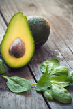 Avocado and baby spinach Royalty Free Stock Photos