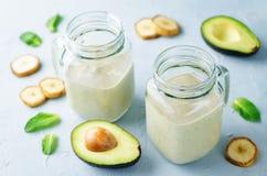 Avocado banana smoothies Royalty Free Stock Photography