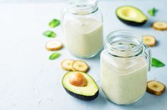 Avocado banana smoothies Stock Images