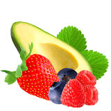 Avocado and berries with leaf isolated on white Royalty Free Stock Photography