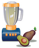 Avocado and blender. Vector drawing of a a blender and avocado fruit stock illustration
