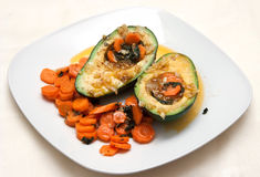 Avocado with carrot salad Stock Image