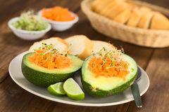 Avocado with Carrot and Sprouts Royalty Free Stock Image