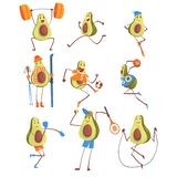 Avocado Cartoon Character Doing Sports Set, Funny Exotic Fruit Athlete Playing Basketball, Soccer, Tennis, Jumping with. Skipping Rope, Running, Boxing Vector stock illustration