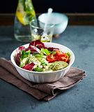 Avocado, Cherry Tomato and Radicchio Salad with Feta and Chia Seeds royalty free stock photo