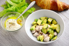Avocado chicken salad: cooking Stock Photos