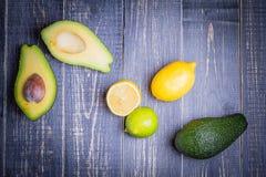Avocado, citroen, kalk Royalty-vrije Stock Afbeeldingen