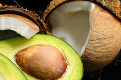 Avocado and coconut Stock Images