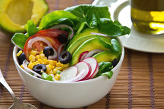 Avocado and corn salad Stock Photos