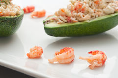 Avocado with crab and shrimp Royalty Free Stock Images