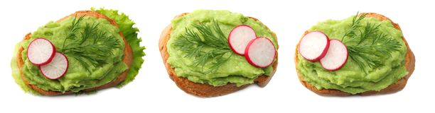 sandwich with avocado cream isolated on white background. Healthy food. top view stock photos