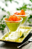 Avocado cream and salmon Stock Image