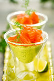 Avocado cream and salmon Royalty Free Stock Images